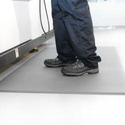 poste de travail avec un Tapis antifatigue à surface granuleuse en exemple