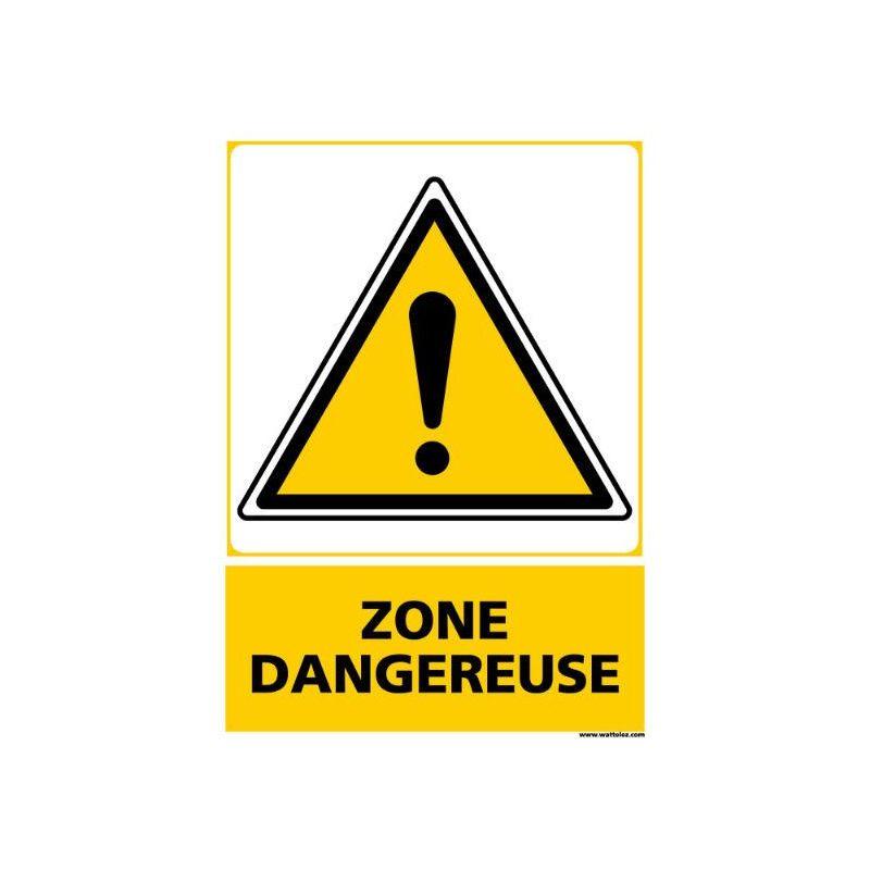 Panneau signalétique en PVC Zone dangereuse
