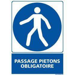 Panneau signalétique en PVC Passage piétons obligatoire