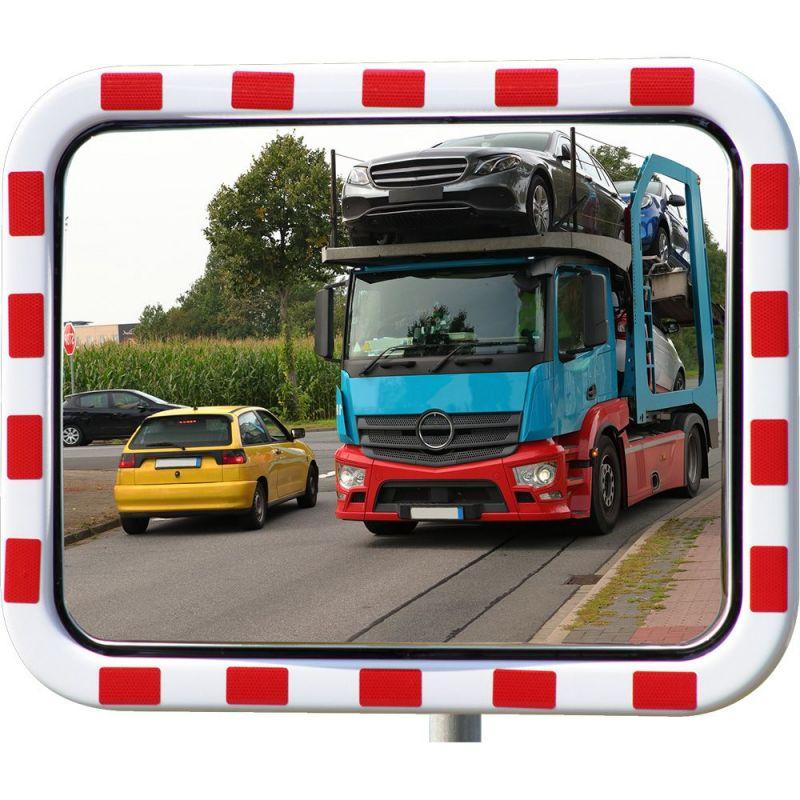 Miroir routier en acrylique avec cadre rouge et blanc  | Miroirs de sécurité