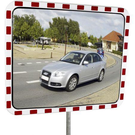 Miroir routier en polycarbonate avec cadre rouge et blanc