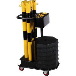 Chariot avec kit de poteaux acier et chaîne | Protection des entrepôts