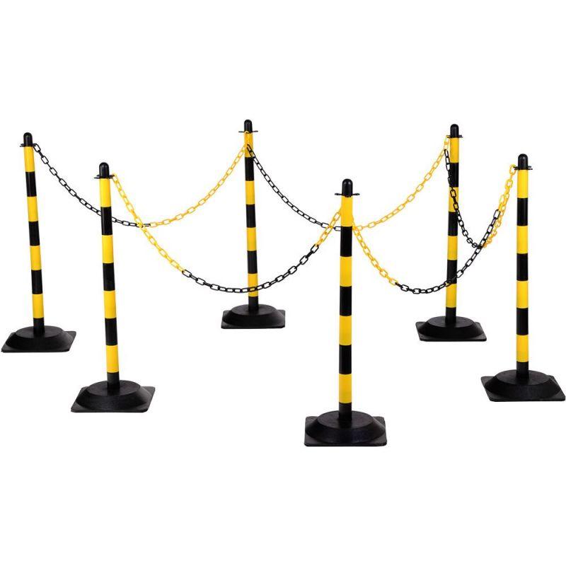 Kit de poteaux en PE avec chaîne de délimitation | Protection des entrepôts