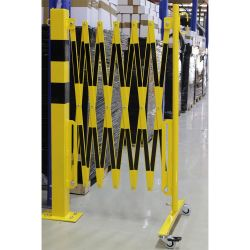 Barrière extensible avec poteau et roues | Barrière de sécurité | Barrière et poteau de Sécurité
