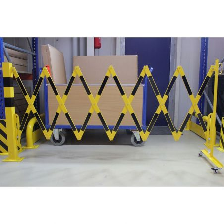Barrière extensible avec poteau et roues