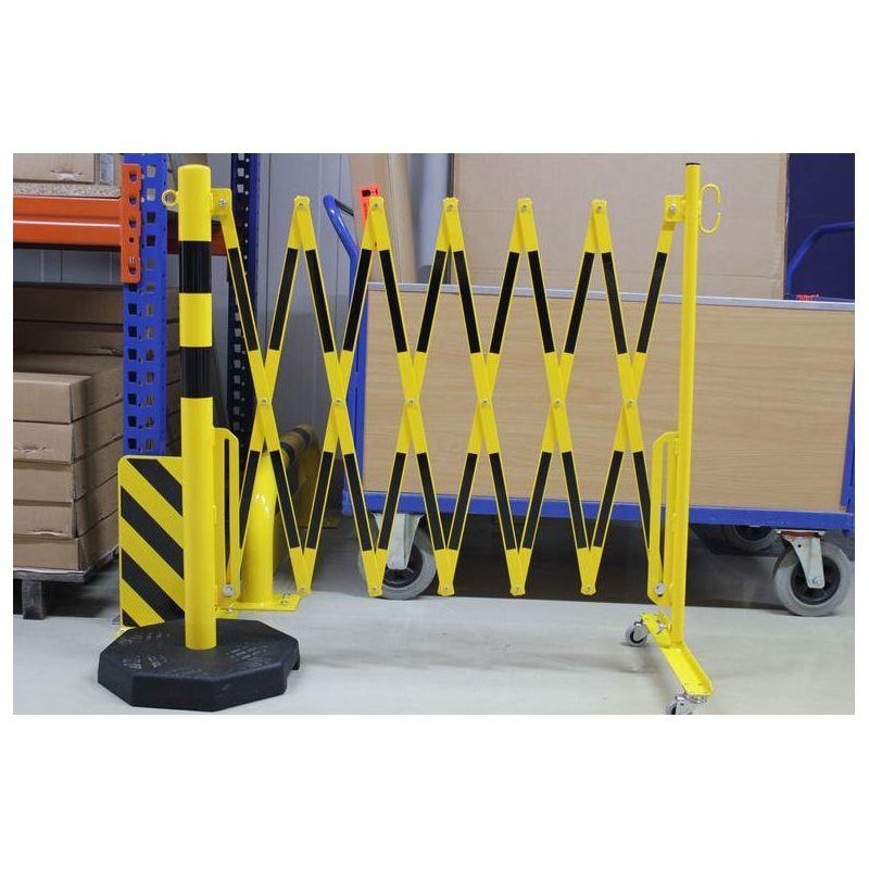 Barrière extensible mobile avec poteau lesté | Barrière de sécurité | Barrière et poteau de Sécurité