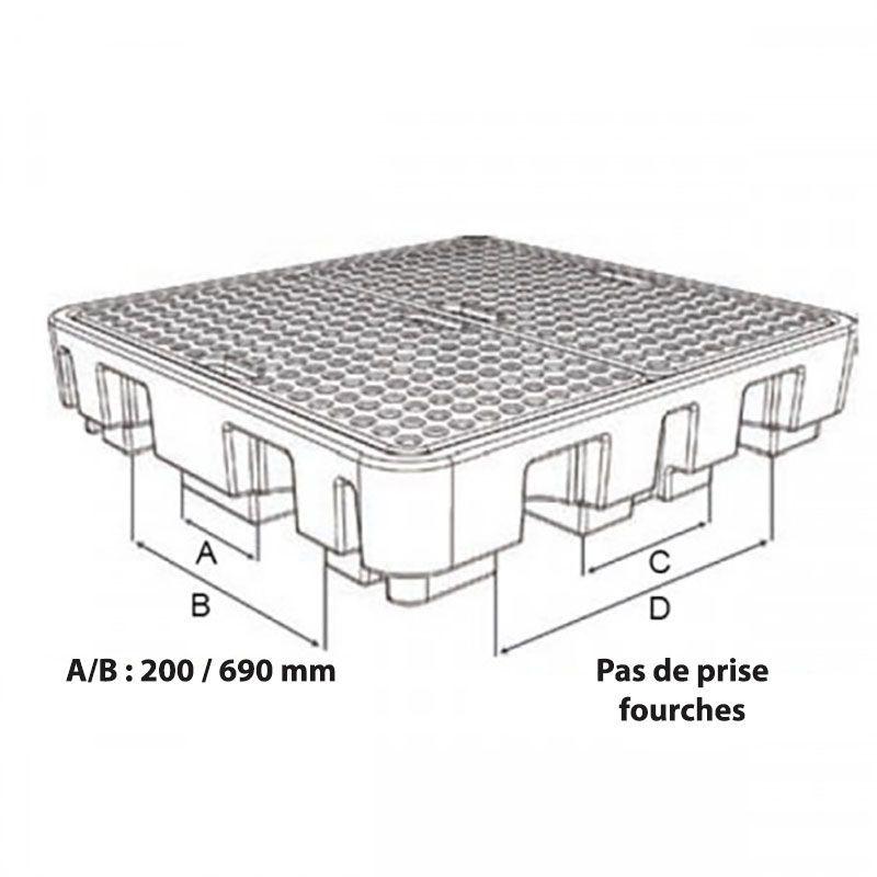 Bac de rétention plastique pour 1 fût   Bac de rétention plastique