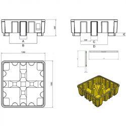 Palette de rétention plastique pour 4 fûts | Bac de rétention plastique