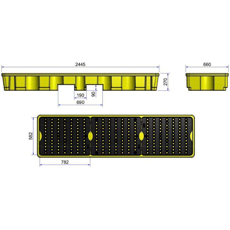 Palette de rétention en PE pour 4 fûts en ligne   Bac de rétention plastique