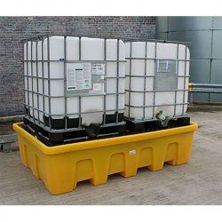 Palette de rétention emboitable pour 2 IBC   Bac de rétention plastique