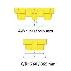 Bac de rétention sans caillebotis pour 2 fûts | Bac de rétention plastique