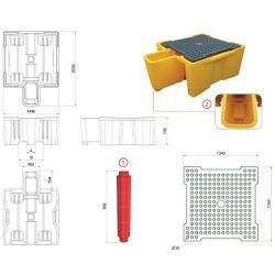 Bac de rétention plastique pour 1 IBC avec poste de soutirage | Bac de rétention plastique