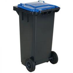 Conteneur à déchets 120L  - Couvercle bleu | Conteneur Poubelle sur roues