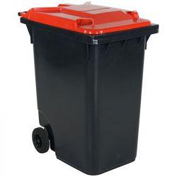 Conteneur à déchets 360 litre - Couvercle rouge | Conteneur Poubelle sur roues