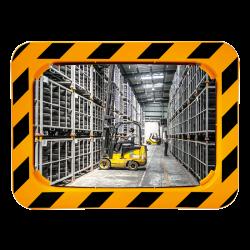 Miroir industrie et logistique en Polymir - Cadre Jaune et Noir