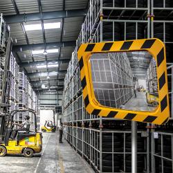 Miroir industrie et logistique en P.A.S. - Cadre Jaune et Noir