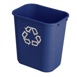 Poubelle de tri sélectif Rubbermaid bleu symbole de recyclage.
