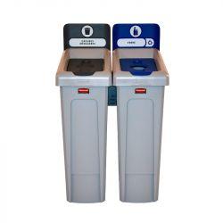 Station de recyclage Slim Jim 2 flux avec couvercle fermé gris et couvercle bouteille bleu.