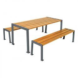 Table de pique-nique Silaos® gris procity chêne clair
