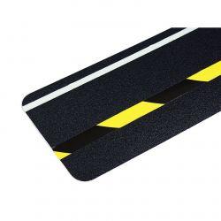 Bandes antidérapantes Dalle antidérapante à ligne noir et jaune réfléchissante et luminescente