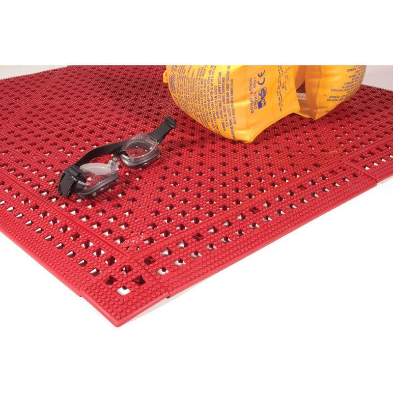 Dalle de sol en PVC souple et hygiénique - caillebotis milieux humides FLEXI-DECK LEISURE ROUGE