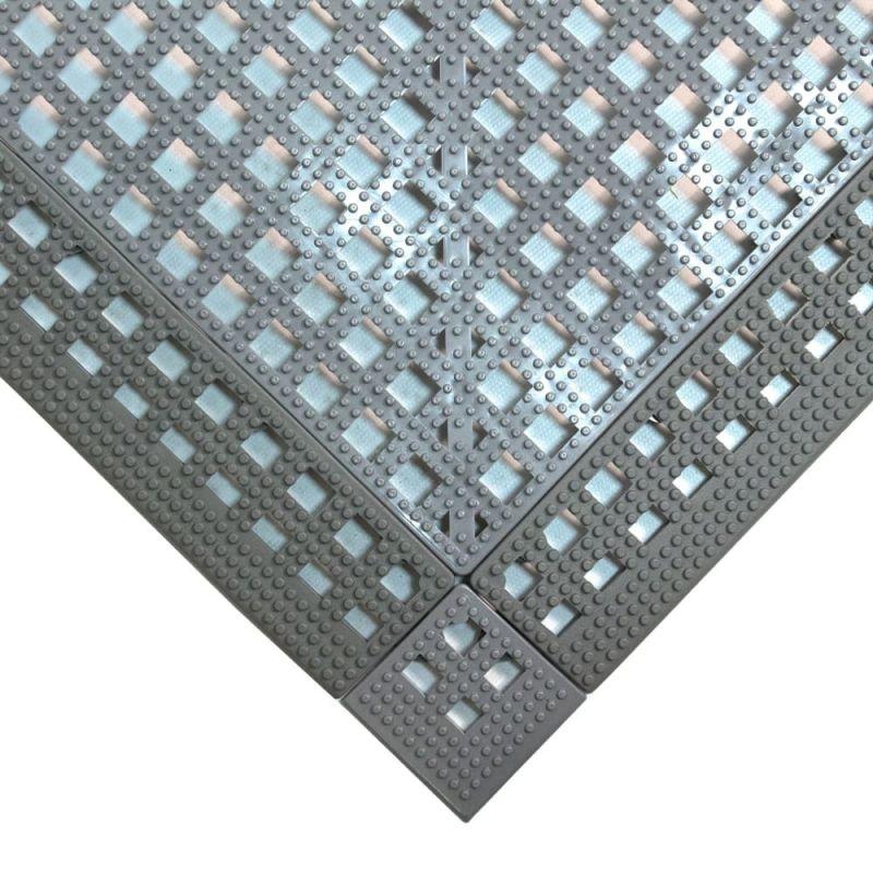 Dalle de sol en PVC souple et drainante - Caillebotis industriels FLEXI-DECK INDUSTRY gris