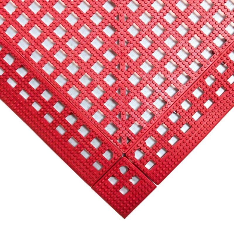 Dalle de sol en PVC souple et drainante - Caillebotis industriels FLEXI-DECK INDUSTRY rouge